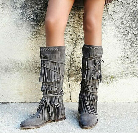 new arrival tassel long boots gray lace-up fringe mid-calf suede leather boots flat back ...