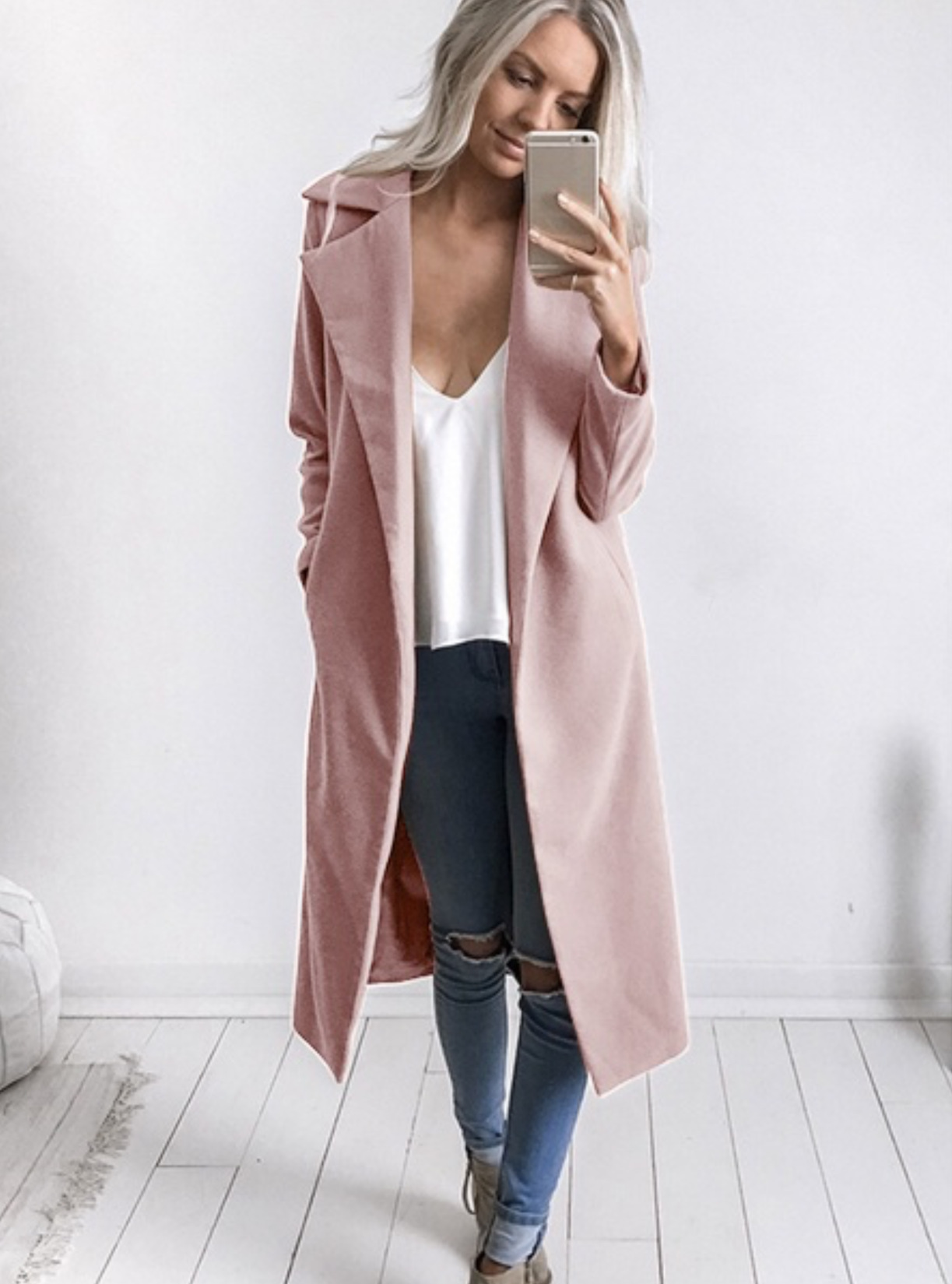 Oasis Pink Collarless Slim Fit Jacket Trench Overcoat Soft Smart Coat 6 to 14