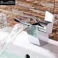 Смеситель для холодной и горячей воды  современный дизайн  бесплатная доставка  латунный хромированный смеситель для раковины  двойная руч...