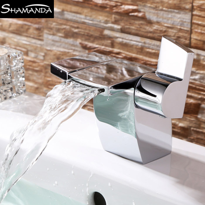 Modern Design Free Shipping Brass Chrome Basin Faucet Dual Handle Cold and Hot Water Waterfall Mixer 2460 micoe hot and cold water basin faucet mixer single handle single hole modern style chrome tap square multi function m hc203