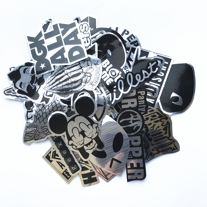 TD ZW 50Pcs/Lot Wire Drawing Style DIY Waterproof Sticker For Laptop Car Snowboard Skateboard Phone Bicycle Decal Toy Stickers