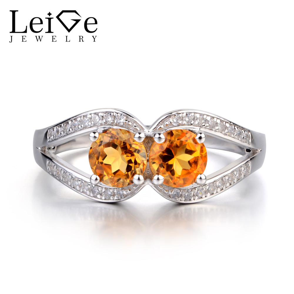 Leige Jewelry Citrine Ring Round Cut Yellow Crystal Double Stone Engagement Anniversary Rings for Women Sterling Silver JewelryLeige Jewelry Citrine Ring Round Cut Yellow Crystal Double Stone Engagement Anniversary Rings for Women Sterling Silver Jewelry