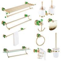 Creative Gold green crystal hair dryer rack copper set European double cup holder bathroom hardware pendant bathroom robe hook