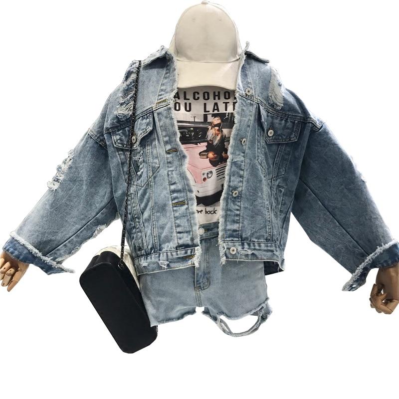 2019 New Denim   Jacket   For Women Spring Long Sleeve   Basic     Jackets   Female Coat Washed Ripped Hole Jeans   Jacket   Femenina Chaqueta