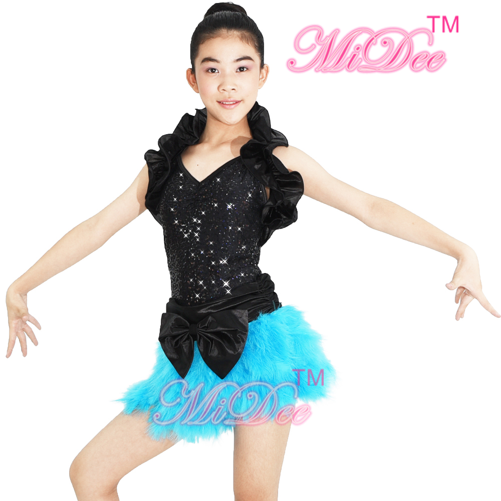 MiDee Feather Jazz Dance Costume Outfits Kläder Sequin Leotard med - Scen- och danskostymer