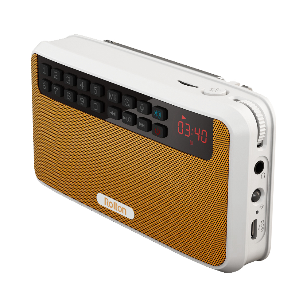 Rolton E500 Portable Stereo Bluetooth Speakers FM Radio Clear Bass Dual Track Speaker TF Card USB Music Player (Orange) s309 diy wooden bluetooth speaker portable fm radio pc usb aux tf card speakers stereo bass sound box for computer android ios