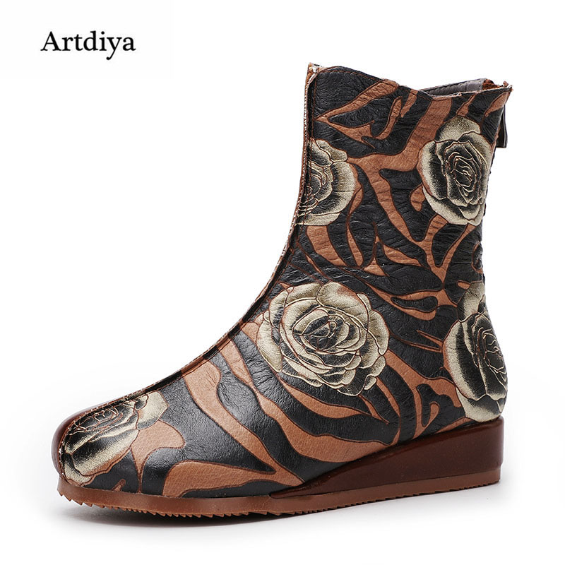 Artdiya Original 2018 Autumn and Winter New Flat Mid-calf Women's Boots Genuine Leather Retro Comfortable Handmade Boots цена 2017