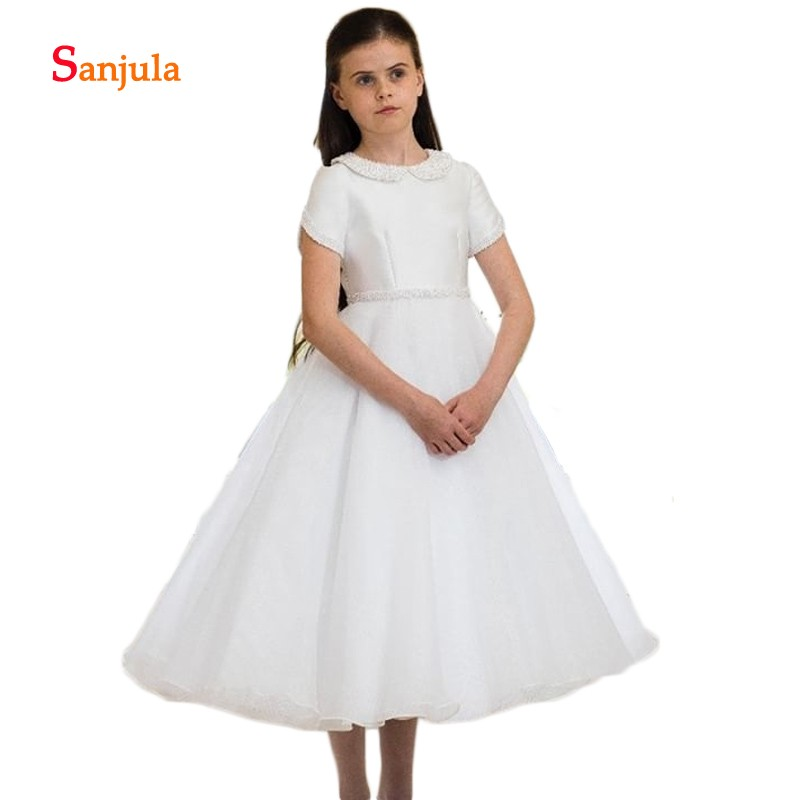 Shiny Crysatls   Flower     Girls     Dresses   Satin A-Line Puffy Skirt Child Pageant Party   Dresses   Tea-Length Short Sleeve comunion D196