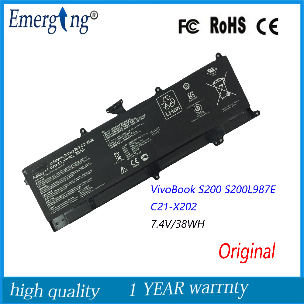Original 7.4V 38Wh New Laptop Battery for ASUS VivoBook S200 S200E X202 X202E X201 X201E series S200E-CT209H все цены