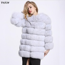 White faux fur coat new 2018 fur coat autumn and winter women's fox fur luxury furry 60-80cm plus size artificial fur coat coat