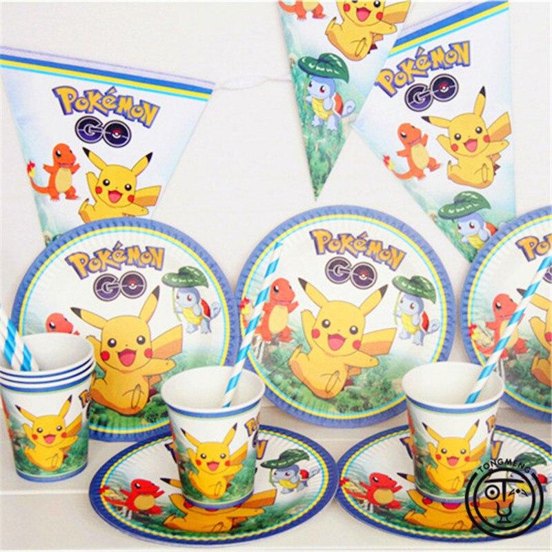 33pcs Cartoon Anime Pokemon Go Pikachu Kids Birthday Decoration Set Theme Party Supplies Baby Birthday Party Pack