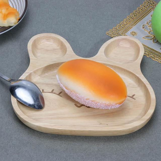 Cute Cartoon Rabbit Face Food Plate Wood Surface Food Fruit Bowl Children Dinner Plate Dish Baby & Cute Cartoon Rabbit Face Food Plate Wood Surface Food Fruit Bowl ...