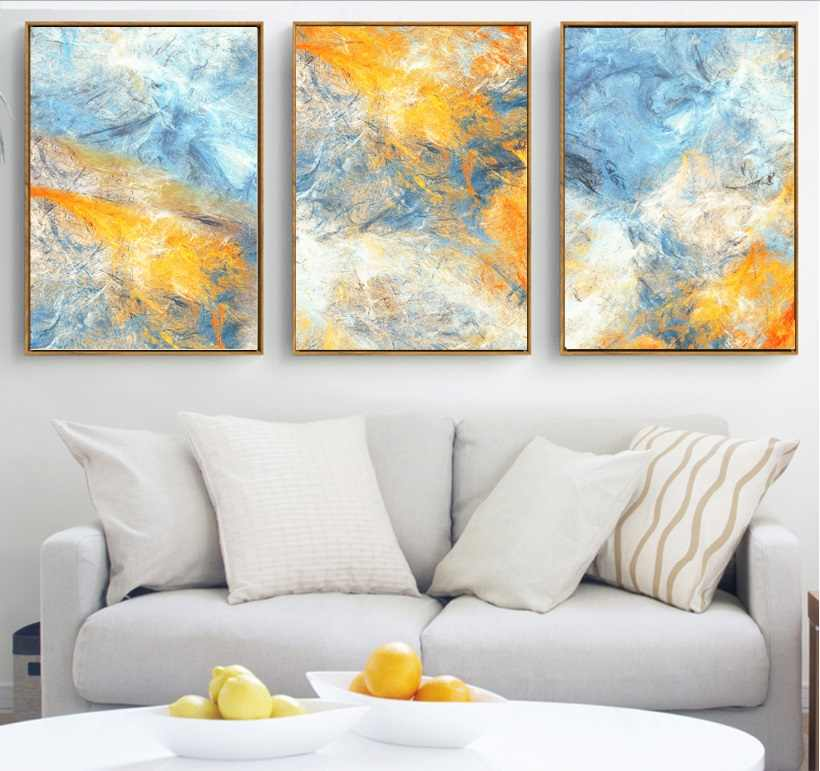 Dream Blue and Yellow Abstract Art 3 Pcs Canvas Paintings Modular Pictures Wall Art Canvas for Living Room Decoration No Framed