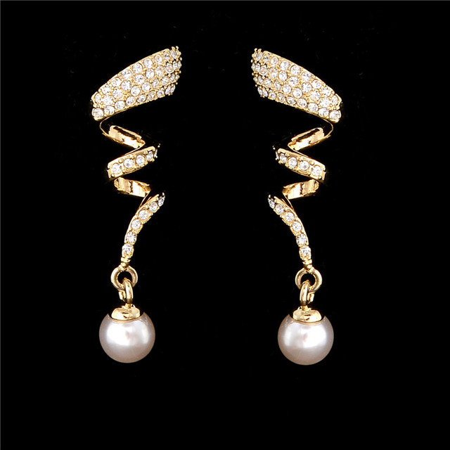Vintage Imitation Crystal Pearl Gold jewelry set