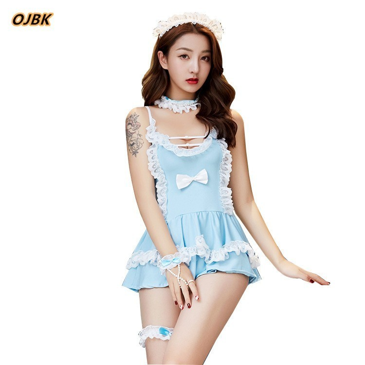 Sexy Open Bra Maid Blue Uniform Role Play Women Sex Lingerie Hot Erotic Top and Costume Lovely Underwear Female black Lace Skirt 1