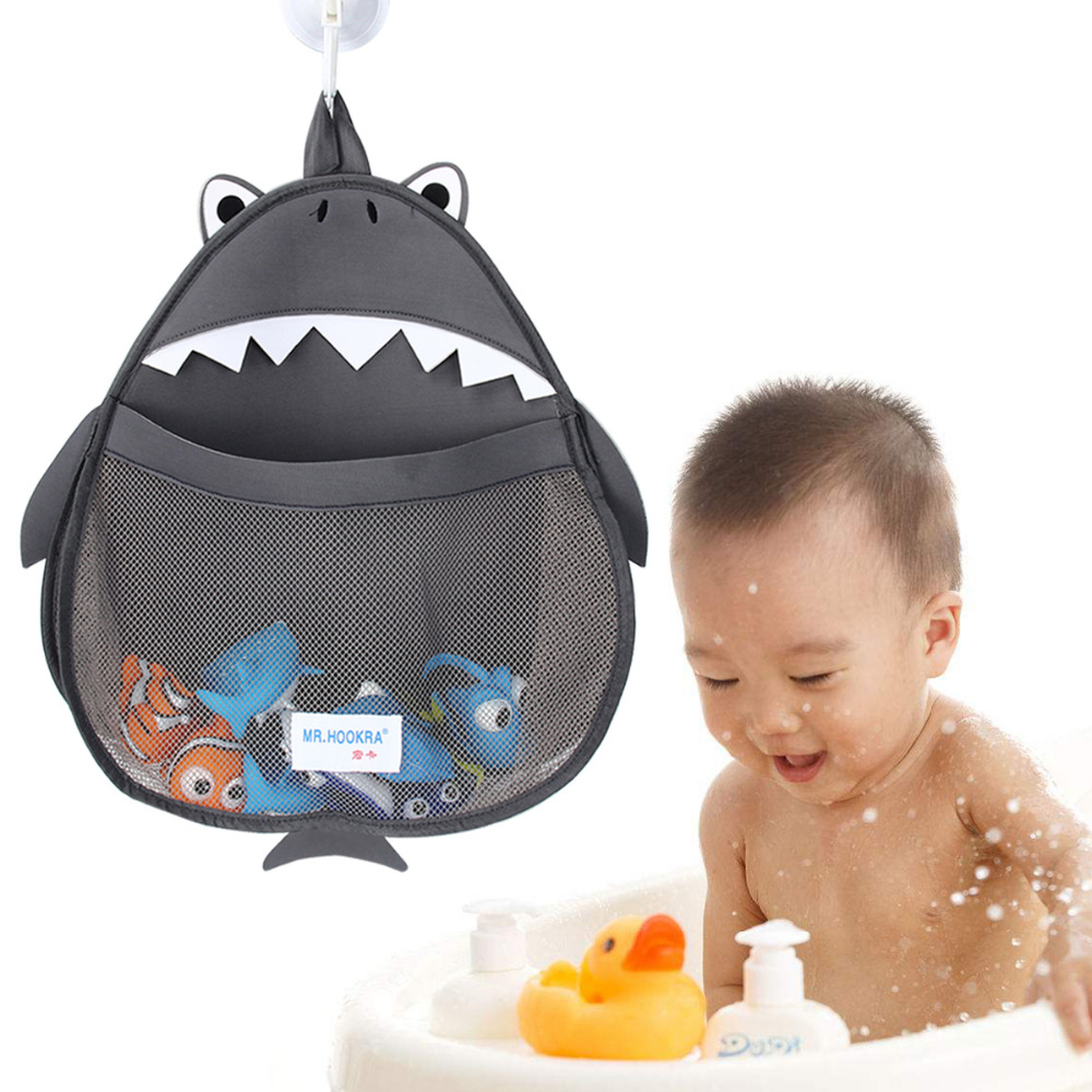 Baby Bath Toy Storage Bag Cartoon Shape Storage Hanging Bag With Hook Waterproof Bathroom Mesh Bag