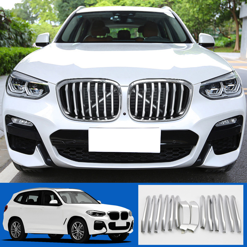 ABS Matte Exterior Front Radiator Grille Grid Decoration Cover Trim 14pcs For BMW X3 G01 2018ABS Matte Exterior Front Radiator Grille Grid Decoration Cover Trim 14pcs For BMW X3 G01 2018