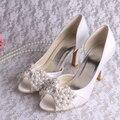 Wedopus MW696 Top Qualidade das Mulheres Sapatos de Festa Branco Pérola Sapatos De Noiva Peep Toe