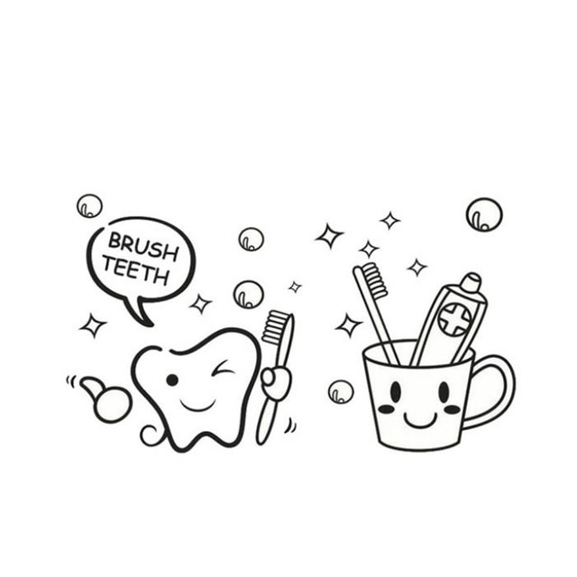 Teeth Tooth Brush Wall Sticker