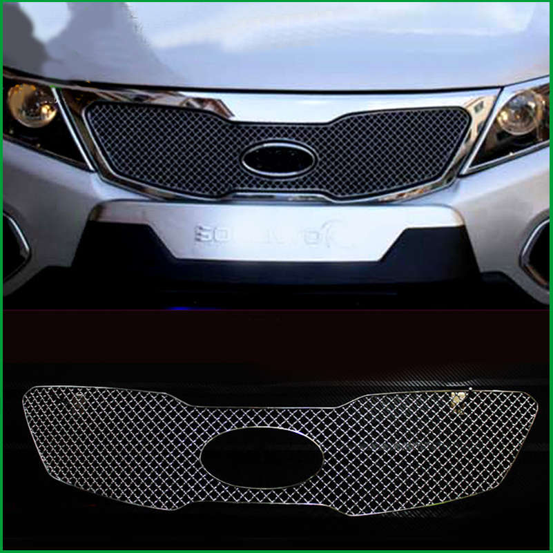 Car styling For Kia Sorento 2009 2010 2011 Stainless Steel Front Bumper Honeycomb Grille Center grill Cover Trim Accessories for kia sorento 2009 2010 2011 2012 2013 2014 chrome covers chromium styling car full window trim decoration auto accessories