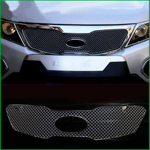 Car styling For Kia Sorento 2009 2010 2011 Stainless Steel Front Bumper Honeycomb Grille Center grill Cover Trim Accessories недорого