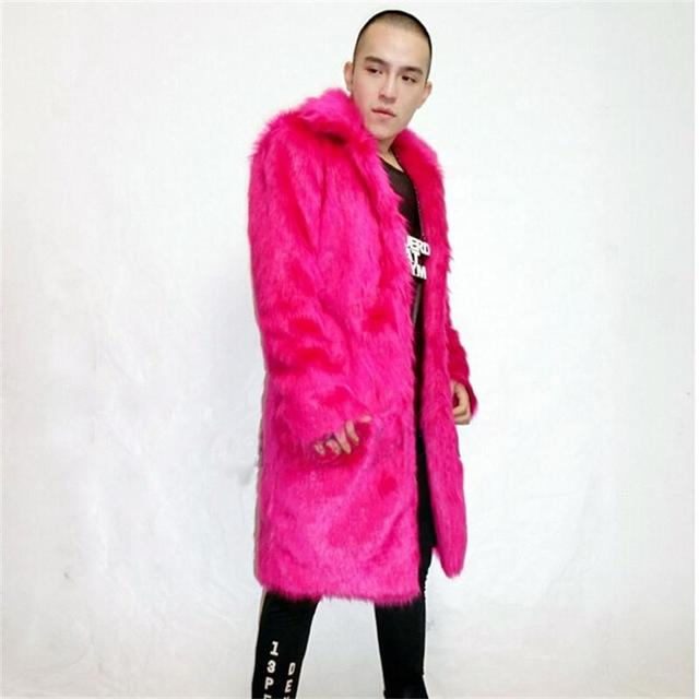 2016 Autumn New Men's Winter Warm Overcoat Lapel Rosy Red Faux Rabbit Fur Jackets Fashion Trend and Long Sections Slim Fur Coats