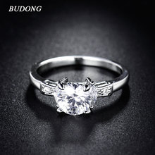 BUDONG Luxury Wedding Ring for Women Party Cubic Zirconia Ring Unique Engagement  White Silver Color Amazing Crystal Ring xuR057