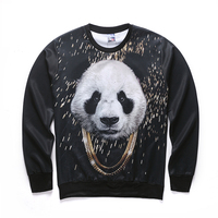 Harajuku Style Of Male Female 3 D Graphics Jersey Printing Panda Interesting Ma Xinji Crewneck Sweater