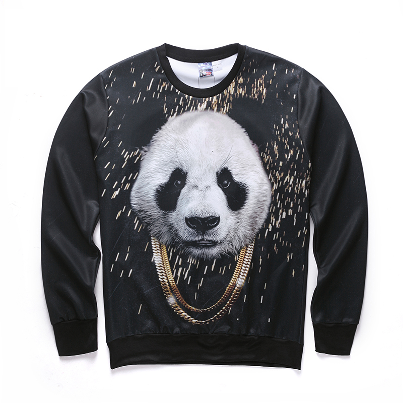Harajuku style of male/female 3 d graphics jersey printing panda/interesting Ma Xinji crewneck sweat