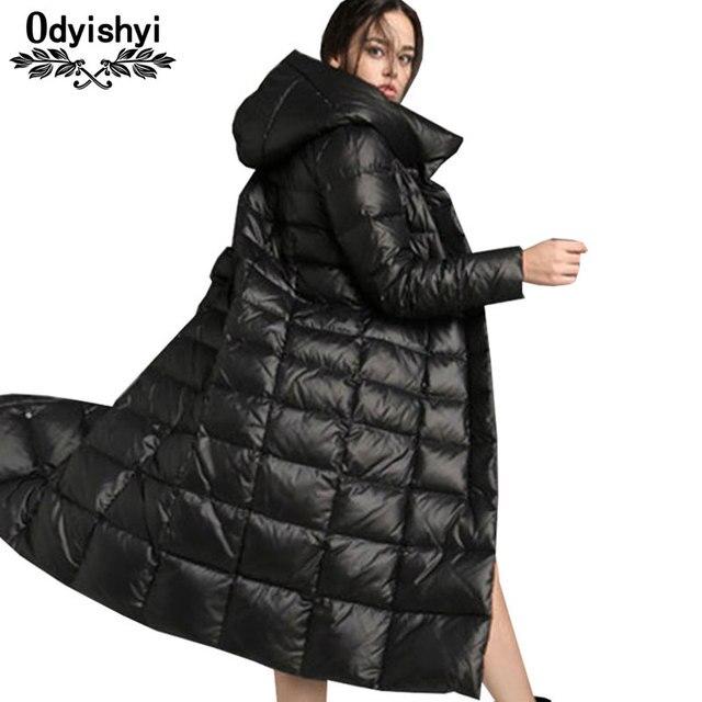 bc98c4c511 Thicken Long Down Jacket Women 2019 Winter Plus size Simple Slim Jacket  Fashion Shiny Black Hooded Down Coat Female Parkas HS622