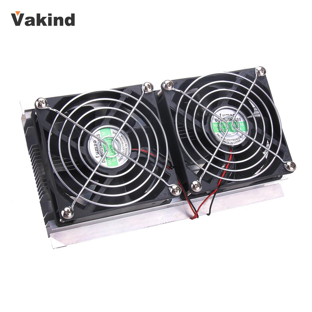Thermoelectric Peltier Refrigeration Cooling System Kit Cooler 2 x Double Fan DIY Computer Components New