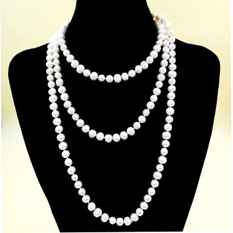 Free Ship Gift Packed 55inch 7-8mm  White Natural Freshwater Pearl Long Necklace Yoga For Women Bohemian Necklace