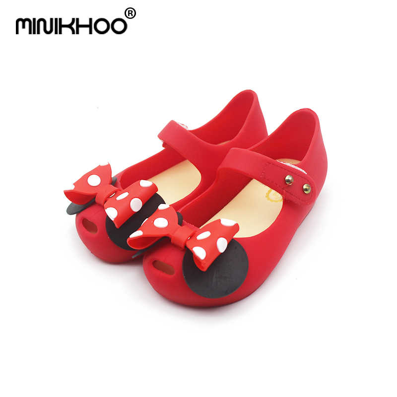 af314e59238 Mini Melissa 2018 Mini Jelly Sandals Wave Point Mickey Bow Tie Sandals Girl  Fish Mouth Princess
