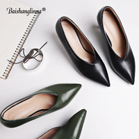 2018 New fashion Thin heel women brand pumps Genuine Leather lady solid color Pointed toe shoes Spring Summer lazy shoes women
