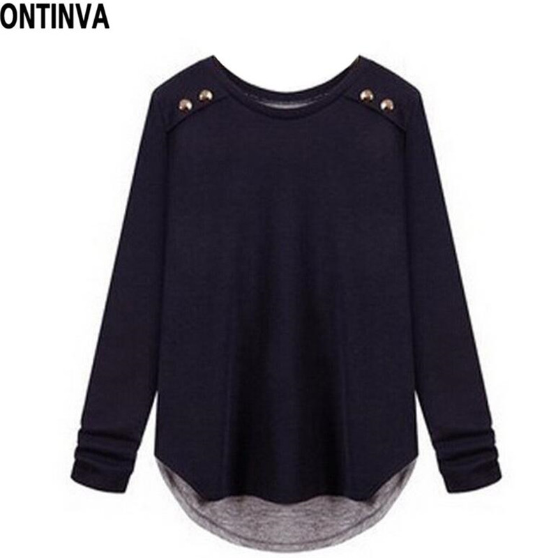 2017 spring new long sleeve t shirt women clothing navy for Xxl long sleeve t shirts