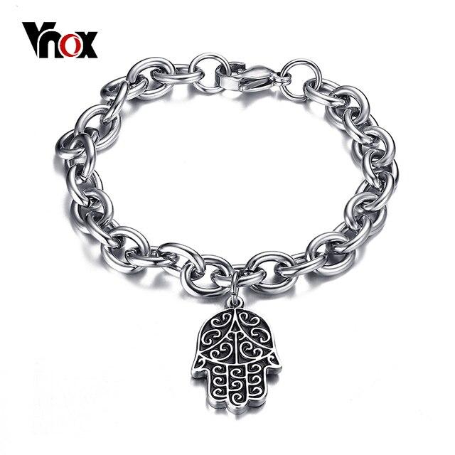 Vnox Hamsa Charm Bracelet For Men High Quality Stainless Steel Hand Shape Chain Clic Daily Male