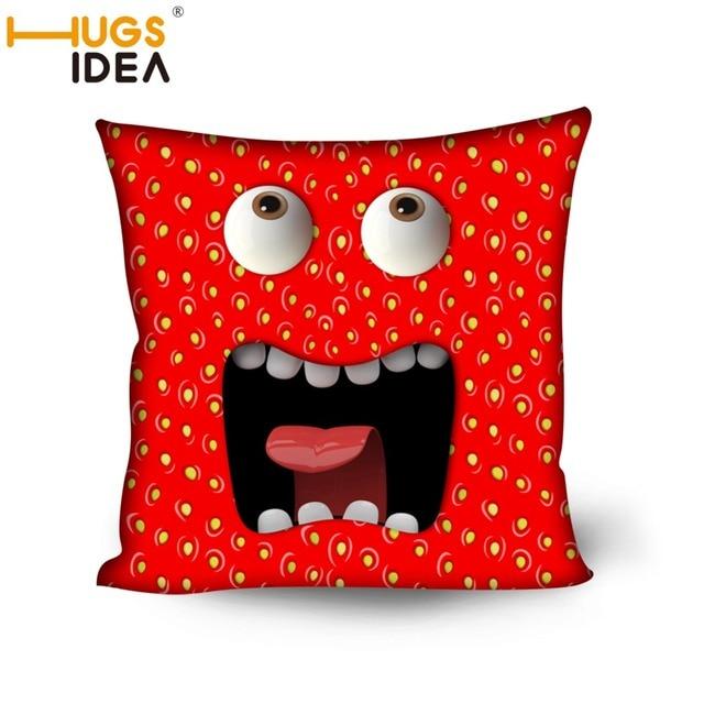 HUGSIDEA 3D Emoji Creative Decorative Cushion Throw Pillows Red