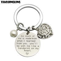 XIAOJINGLING Pearl Hollow Heart Quality Key Ring Thanksgiving Gift Keychain
