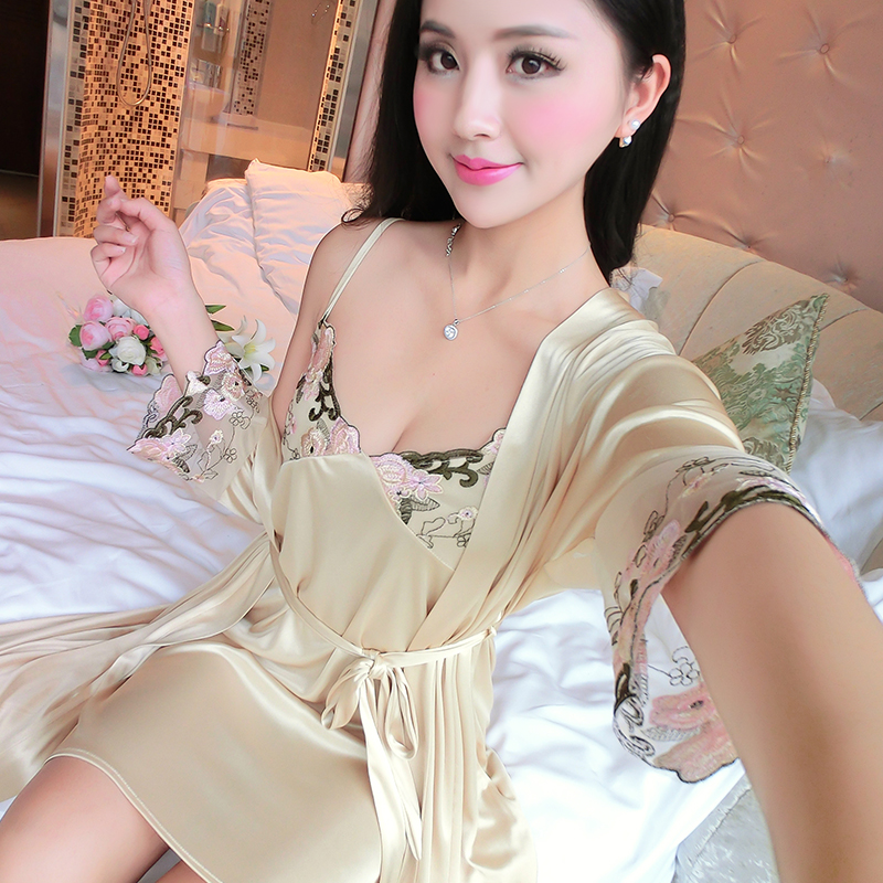 Robe Gown Sets Summer Pajamas Ice Silk Night Skirt Camisole Nightdress Sexy Sweet Home Clothing 2 piece suit birthday present in Robe Gown Sets from Underwear Sleepwears