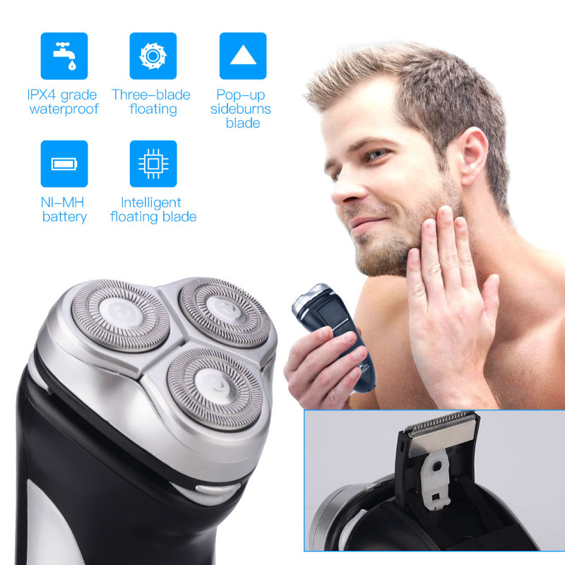 Washable Rechargeable Rotary Three-blade Electric Shaver razor shaving machine for trimming sideburns and long beards men 40
