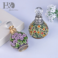 H & D 6ML Vintage pintado a mano flores botella de Perfume vacío recargable antiguo artesanía de botellas para viajes regalos hogar boda decoración