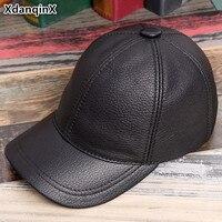 XdanqinX Adjustable Size Genuine Leather Hats For Men Women Single Baseball Caps High Quality Sheepskin Tongue Cap Snapback Cap