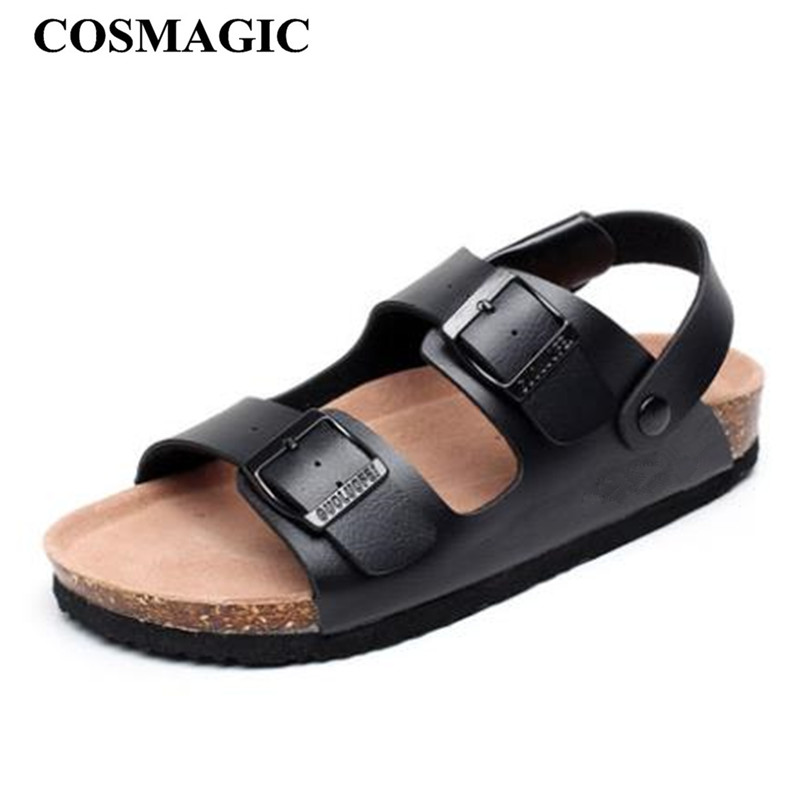COSMAGIC Fashion Double Buckle Cork Sandals 2019 New Women Summer Beach Casual Slipper Shoe Flat With