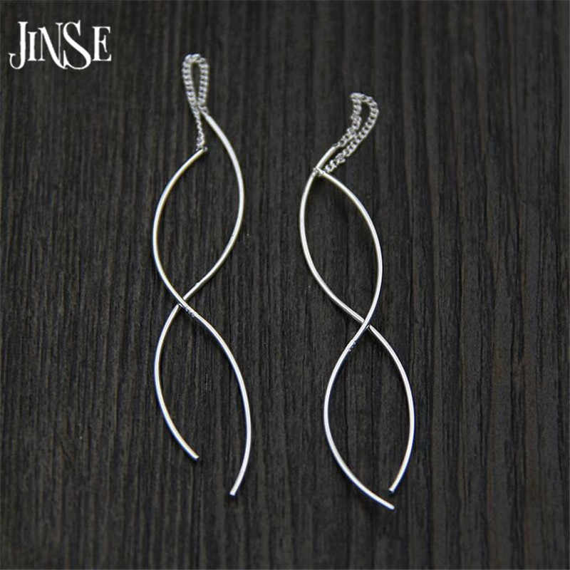 JINSE ใหม่แฟชั่น Punk S925 PURE Silver Simple ยาวปลา Drop ต่างหูยาวต่างหูเครื่องประดับ