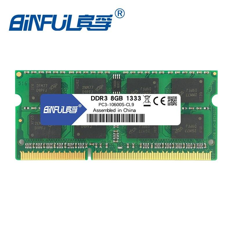 BINFUL nouvelle marque DDR3 8 GO 1600 MHz 1333 MHZ PC3-12800 PC3-10600 memoria ramfor ordinateur portable notebook sodimm 1.5 v