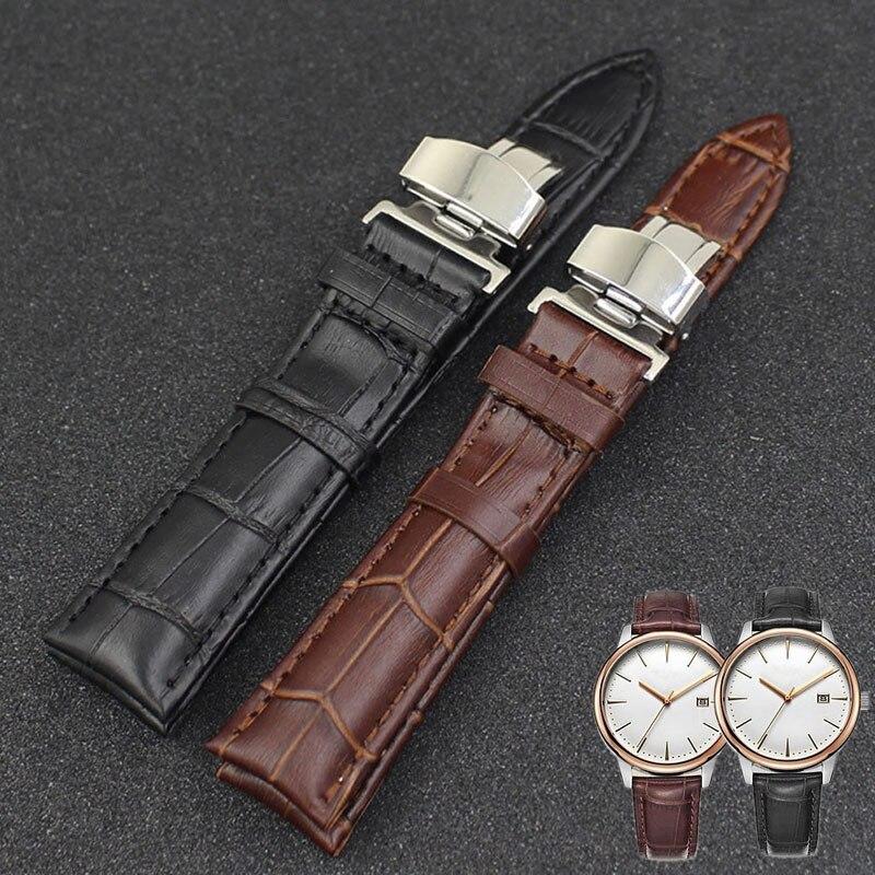 1 StÜck Luxus Leder Edelstahl Butterflyschließe Schnalle Uhrenarmband-bügel 18-24mm 3 Farben
