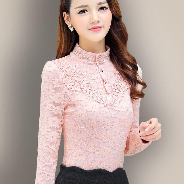 1d61840678d4 Women winter shirt lace blouse long sleeve warm blusa de renda Turtleneck  body blouse ladies tops
