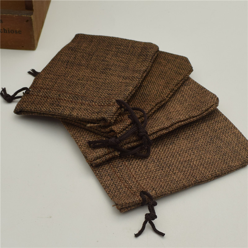 5pcs 11.5*8.5cm Wedding Favor Bags Brown color Faux Linen Bags with Jute Drawstring gift Pouches jewelry packing pouch