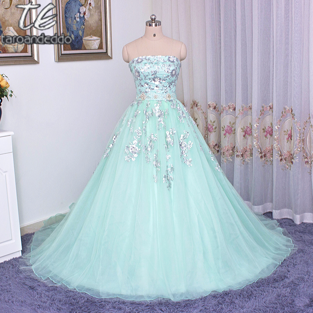 Strapless silver metal lace applique ball gowns mint blue for Mint color wedding dress