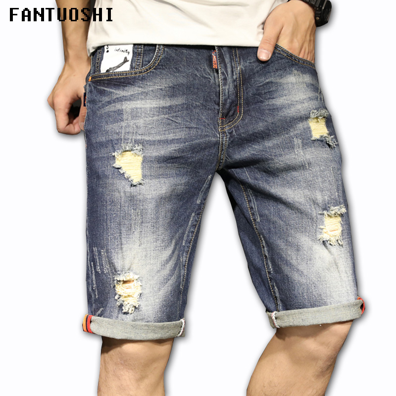 2018 Summer New Casual Denim Shorts Men Jeans 100% Pure Cotton Hole Ripped Brand Clothing Knee Length Male Shorts Blue 36
